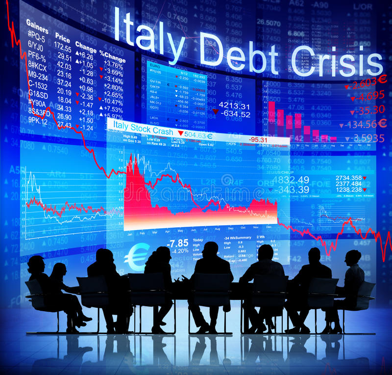 Silhouette of Business People and Italy Debt Crisis stock photo
