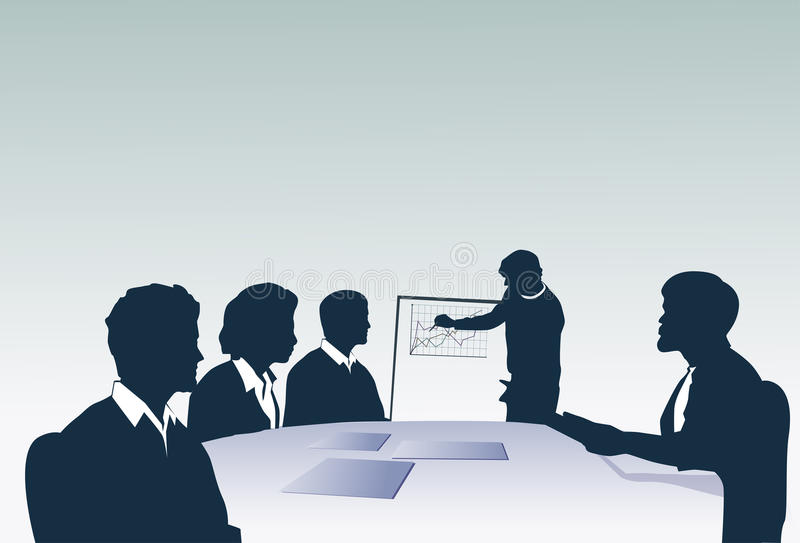 Silhouette Business People Team With Flip Chart Seminar Training Conference Brainstorming Presentation. Vector Illustration royalty free illustration