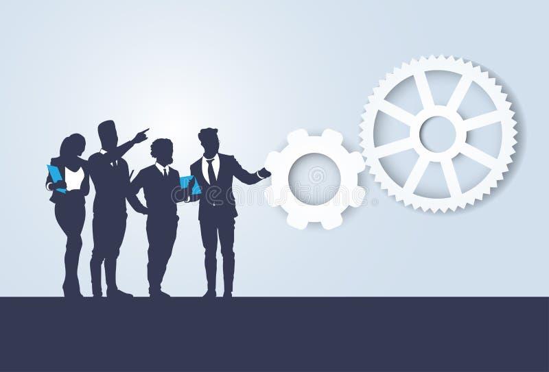 Silhouette Business People Team Seminar Training Conference Brainstorming. Flat Vector Illustration stock illustration