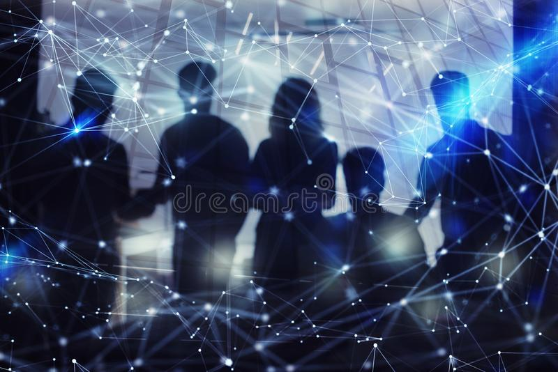 Silhouette of business people work together in office. Concept of teamwork and partnership. double exposure with network. Business people collaborate together in royalty free illustration