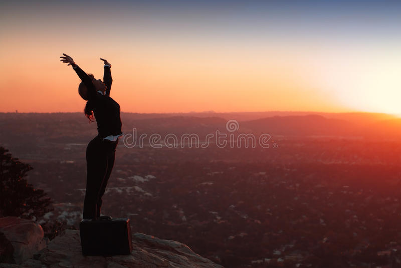 Silhouette of Business Woman stock image