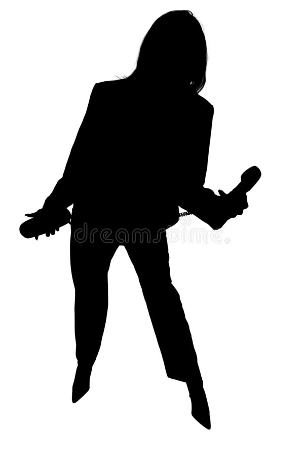 Silhouette of Business Woman with Phone royalty free illustration
