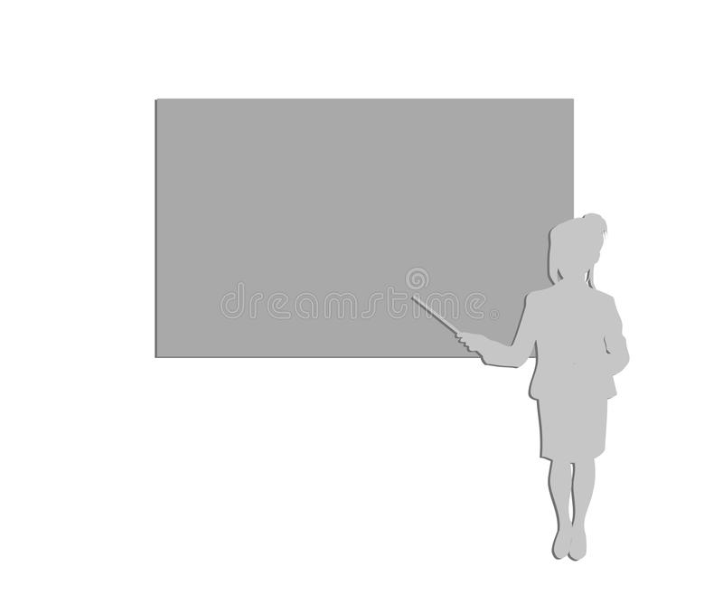 Silhouette of a business woman showing on a blackboard. lecture.secondary. vector illustration. royalty free illustration