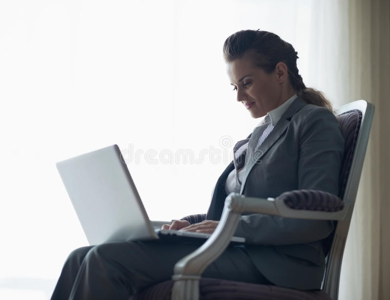 Download Silhouette Of Business Woman Working On Laptop Stock Image - Image: 29538531