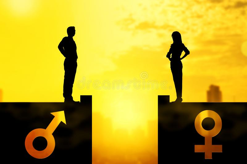 Silhouette of businessman and businesswoman standing on the rooftop with same height. Equality gender concept vector illustration