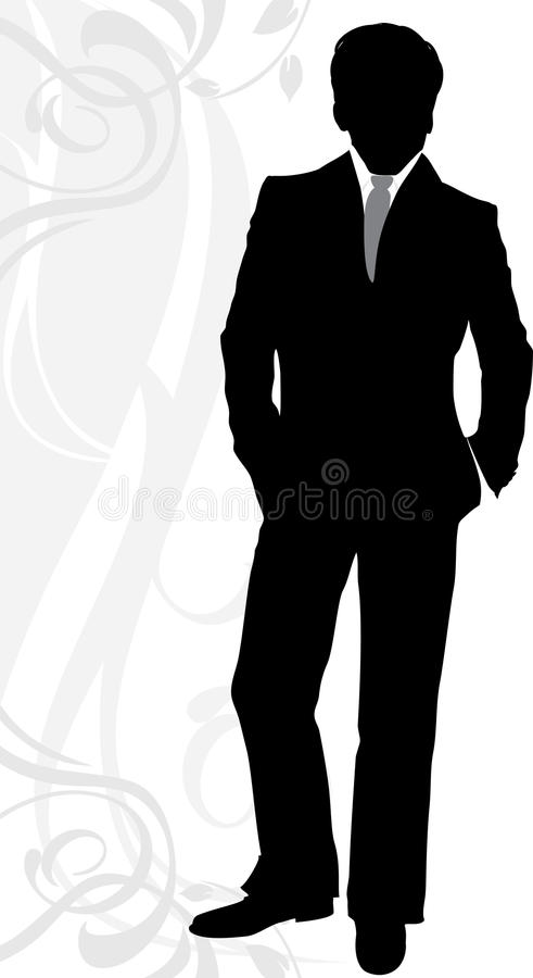 Silhouette of a businessman in classical suit royalty free illustration