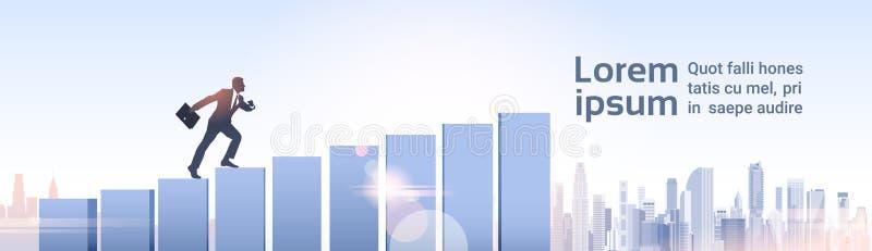 Silhouette Businessman Climb Financial Bar Graph Business Man Growth. Chart Vector Illustration royalty free illustration