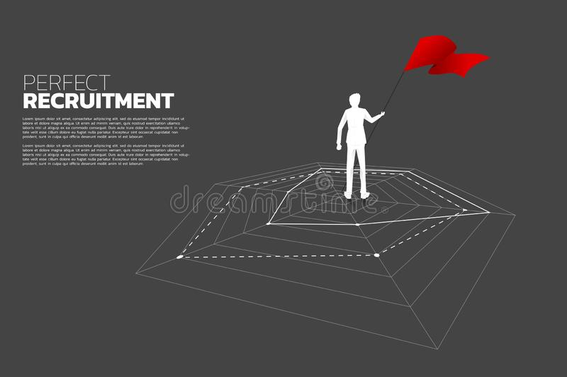 Silhouette of businessman with flag standing on spider chart. Concept of perfect recruitment. vector illustration