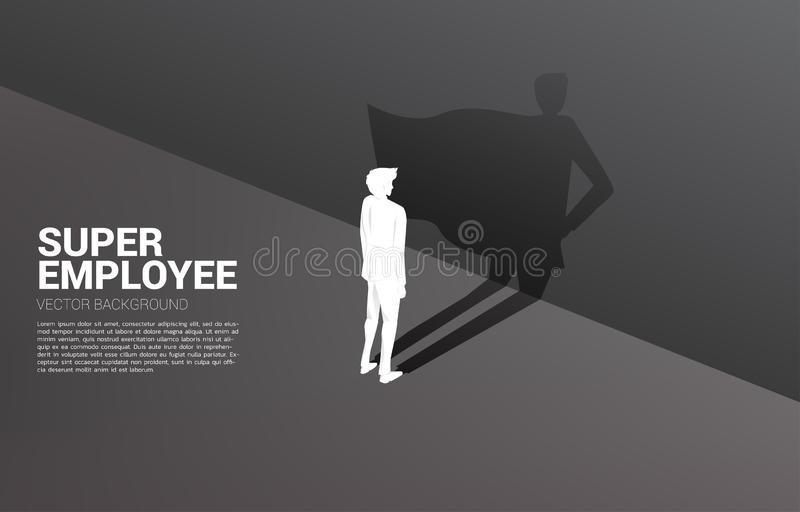 Silhouette of businessman and his shadow of superhero. royalty free illustration