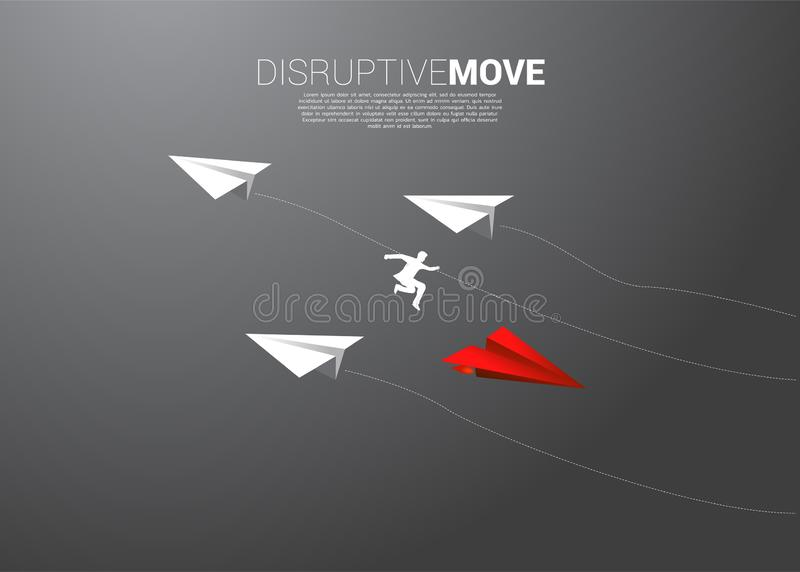 Silhouette of businessman jump from white origami paper airplane to red for change direction. stock illustration