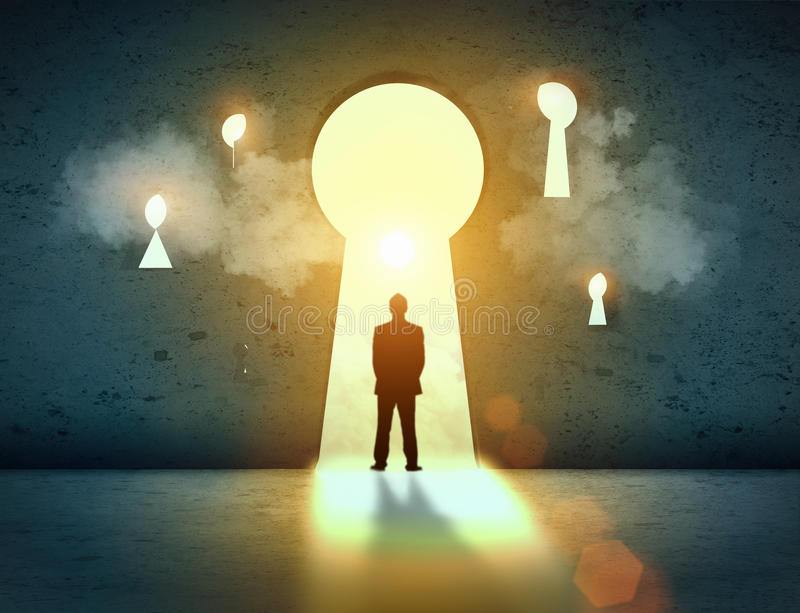Silhouette of businessman in keyhole vector illustration