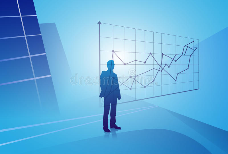 Silhouette Businessman Looking At Finance Graph, Business Man Analysing Results Concept royalty free illustration