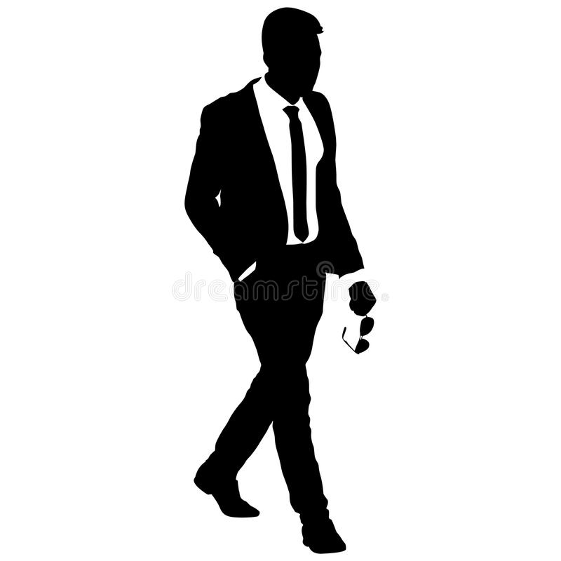 silhouette businessman man in suit with tie on a white