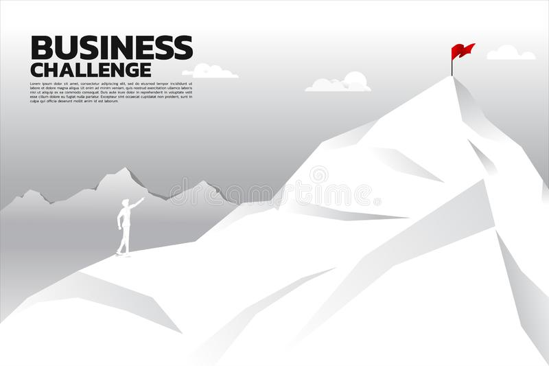 Silhouette of businessman point to flag at top of mountain. Concept of route to success. stock illustration
