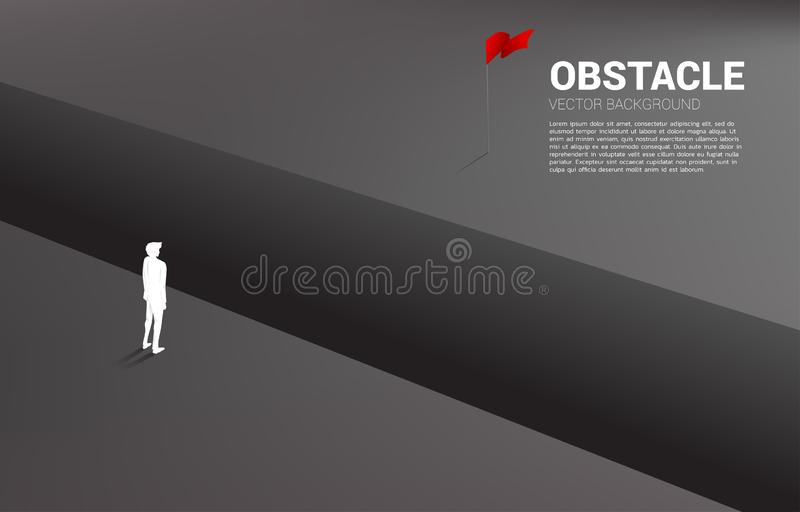 Silhouette of businessman standing at abyss looking to goal. vector illustration