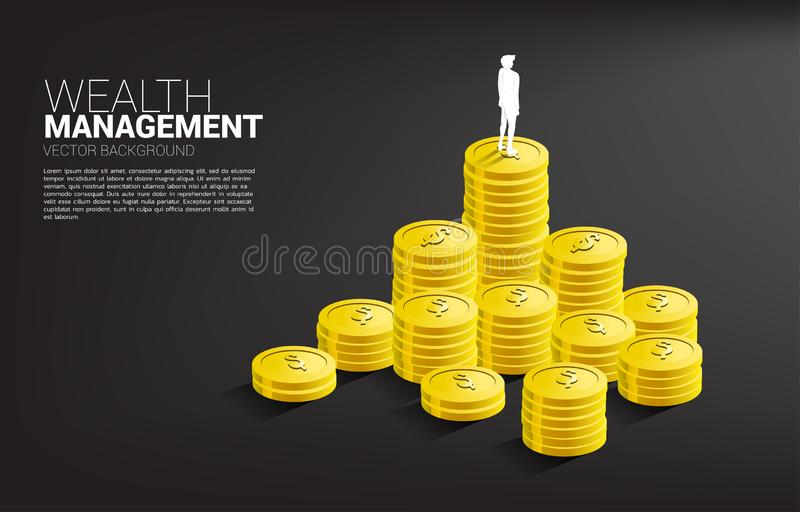 Silhouette of businessman standing on top of stack of coin. royalty free illustration