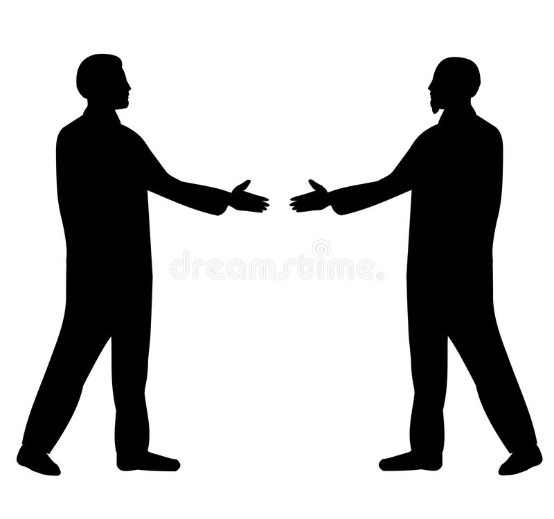 Silhouette of businessmen stock image