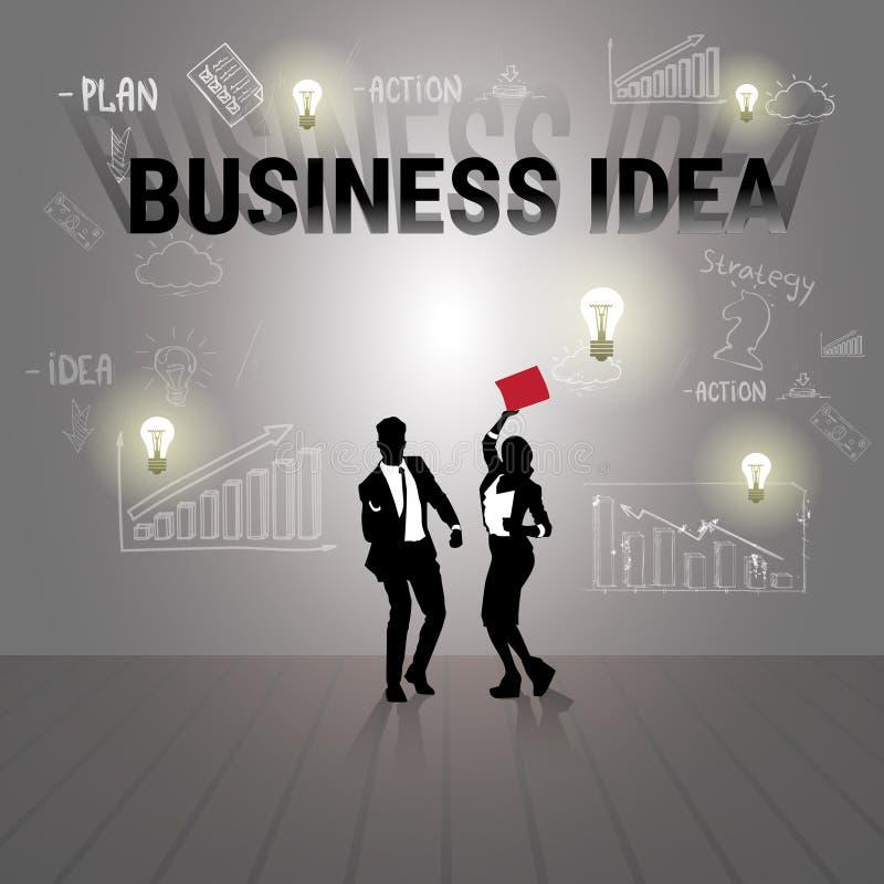 Silhouette Businesspeople Business Idea Brainstorm New Startup Development. Vector Illustration vector illustration
