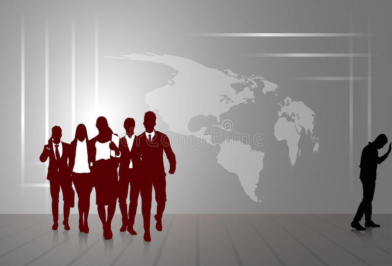Silhouette Businesspeople Group Business Man And Woman Sketch Abstract World Map Background stock illustration