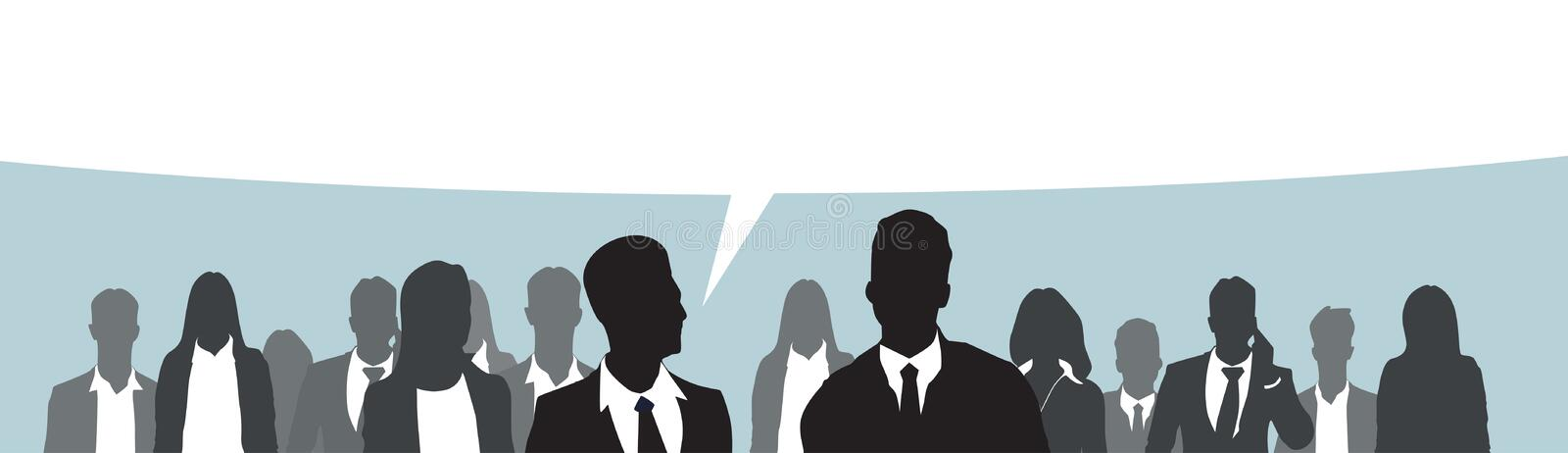 Silhouette Businesspeople Group Business Man And Woman Team Chat Bubble royalty free illustration
