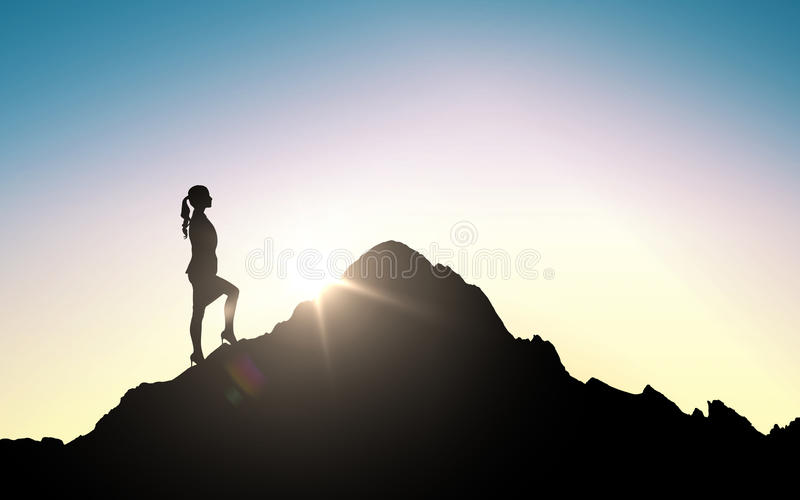 Silhouette of businesswoman raising up to mountain stock illustration