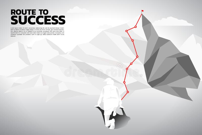 Silhouette of businesswoman ready to run follow the route path to top of mountain. royalty free illustration