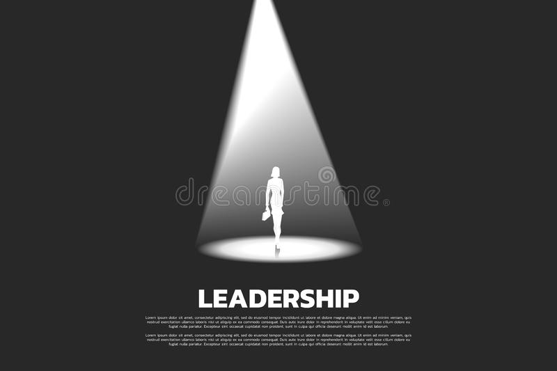 Silhouette of businesswomen with briefcase in spotlight. royalty free illustration