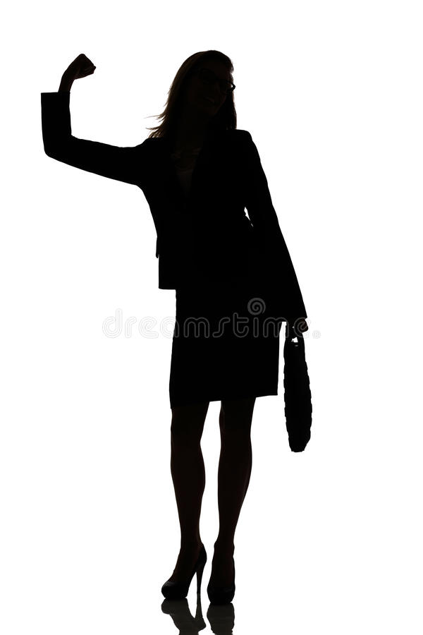 Silhouette of a busy business woman backlight studio. On white royalty free stock photos