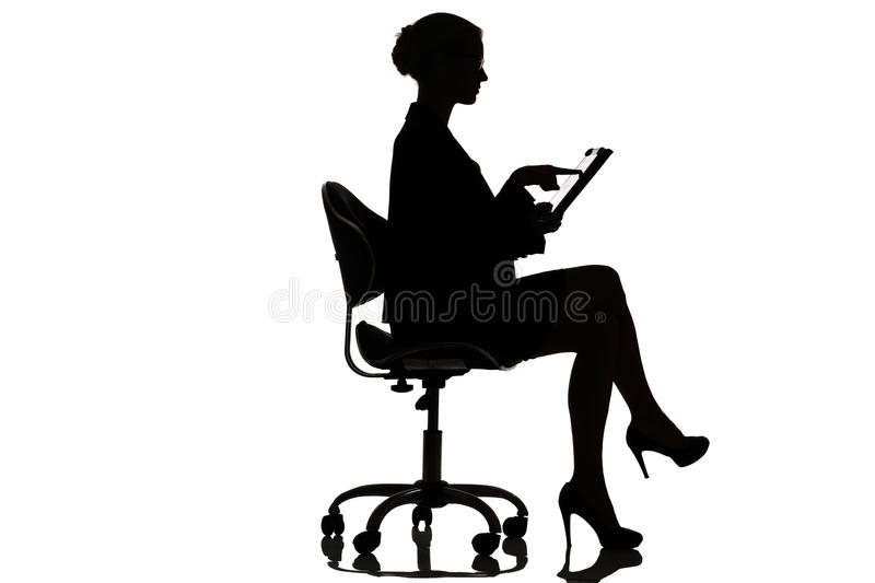 Silhouette of a busy business woman backlight studio. On white royalty free stock images