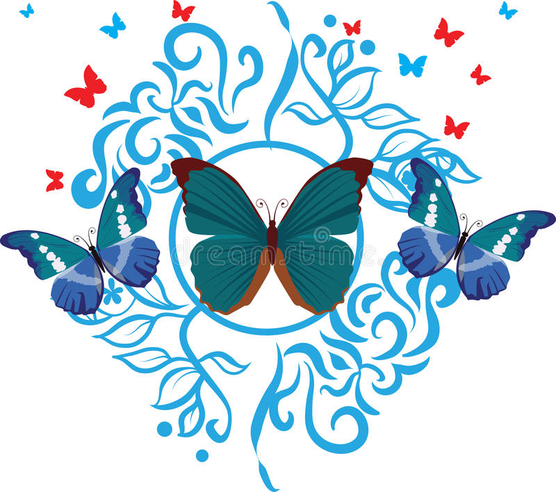 Silhouette butterfly collection stock illustration