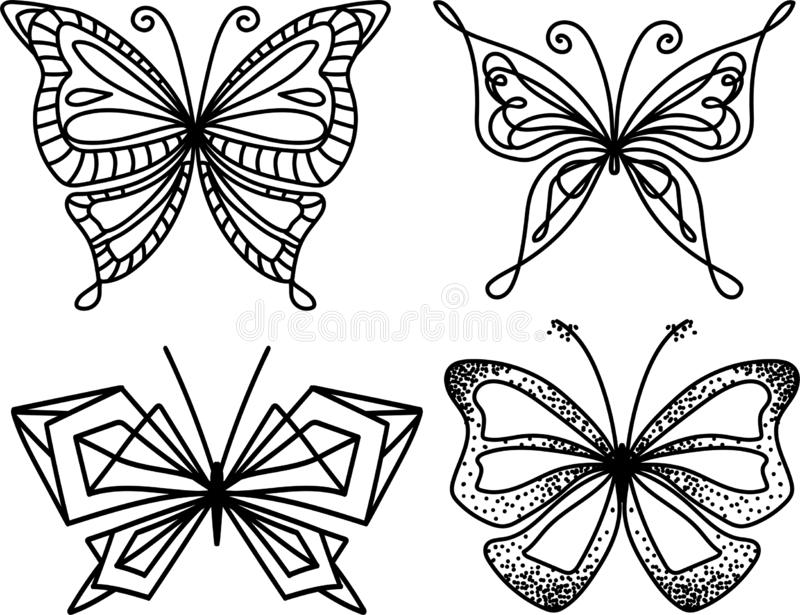 Silhouette butterfly collection. Trendy geometric design. stock illustration