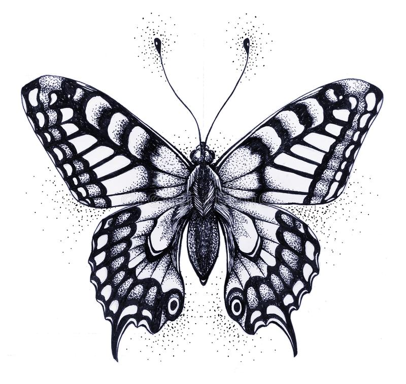 Silhouette of butterfly. Symbol of soul, immortality, rebirth and resurrection. Black and white Tattoo. Silhouette of butterfly. Tattoo butterfly. Symbol of soul royalty free illustration