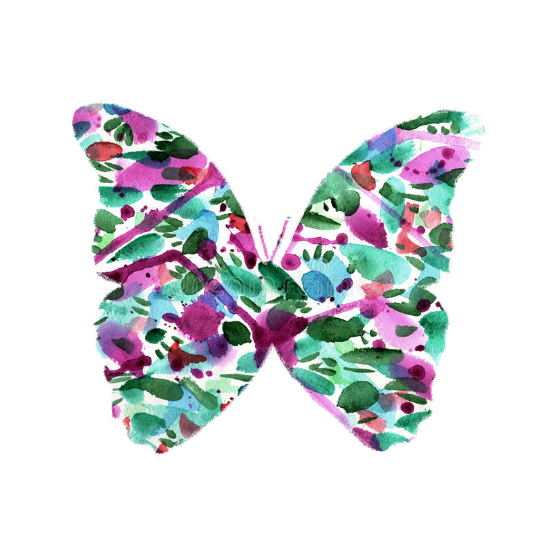 Silhouette of a butterfly with watercolor colorful abstract back. Ground stock image
