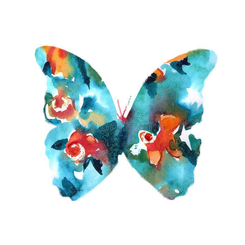 Silhouette of a butterfly with watercolor colorful abstract back stock images