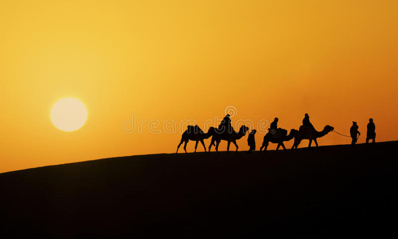 Silhouette of a camel caravan stock image