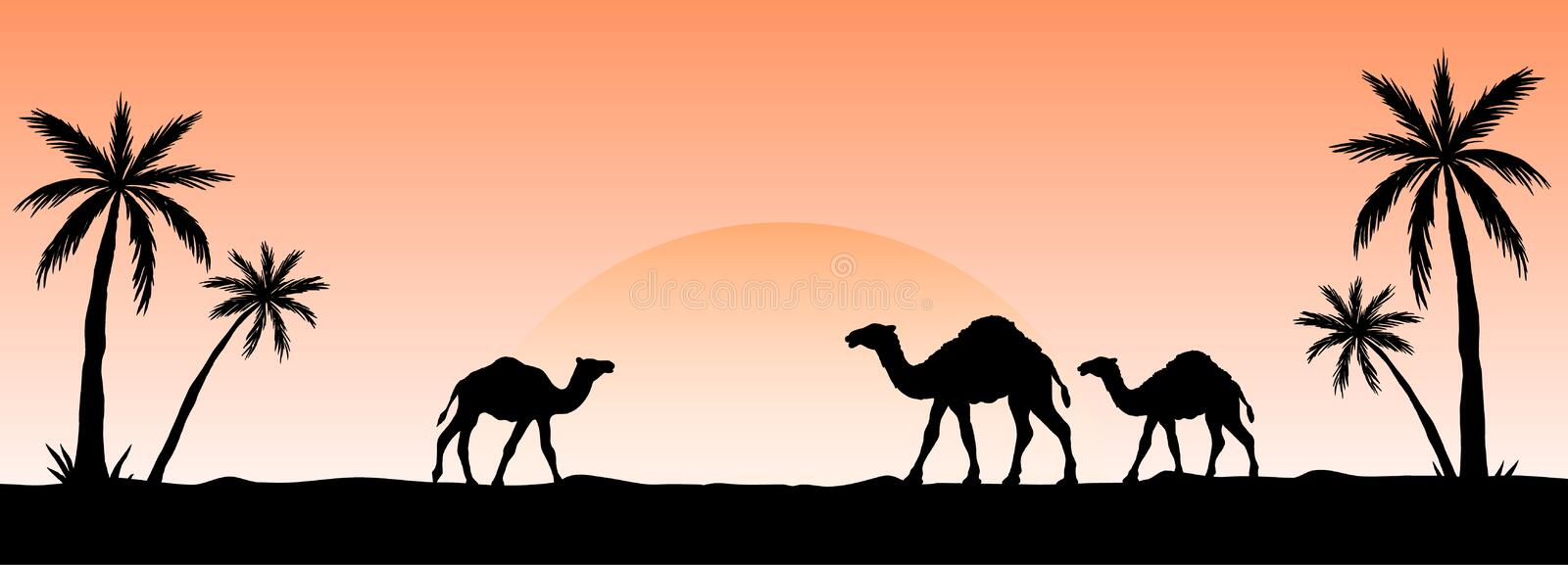 Silhouette of camel caravan going through the desert. Vector illustration for islamic background, poster, calendar, banners, royalty free illustration