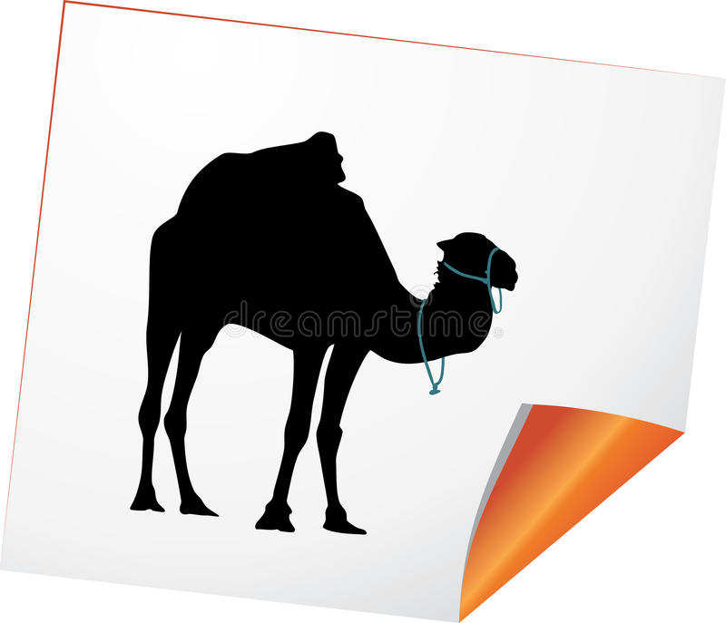 Silhouette of camel on a paper