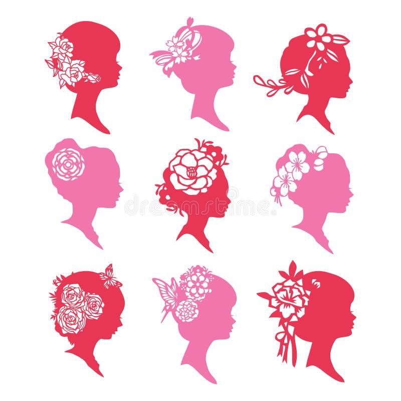Silhouette Cameo Women Paper Cut Set de cru illustration libre de droits