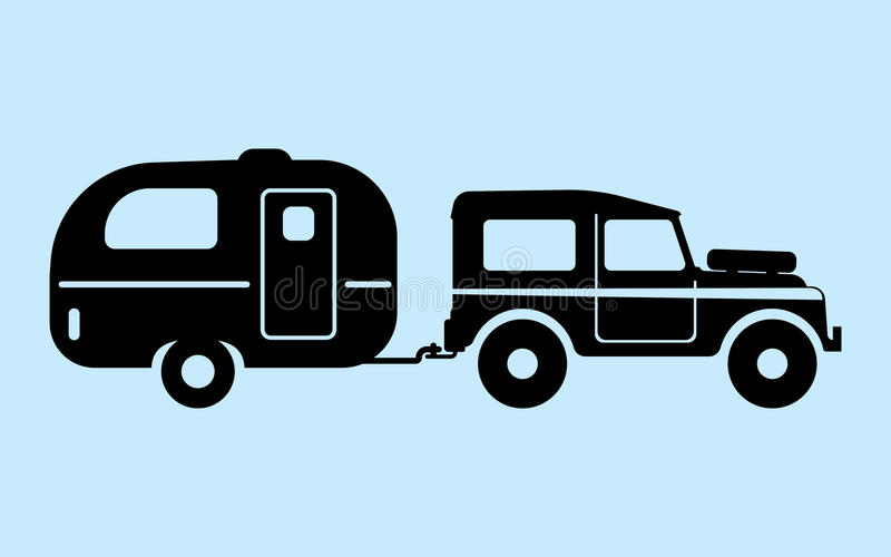 Silhouette camping car vector illustration