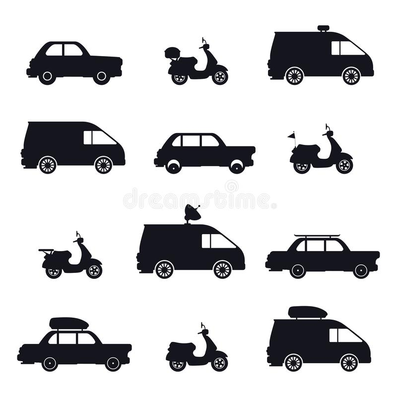 Silhouette of car and minibus, scooter and auto royalty free illustration