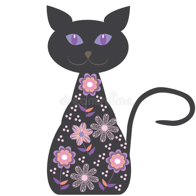 Silhouette of a cat with pretty flowers on a white royalty free illustration
