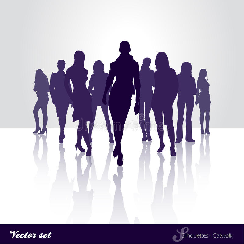 Silhouette catwalk royalty free illustration