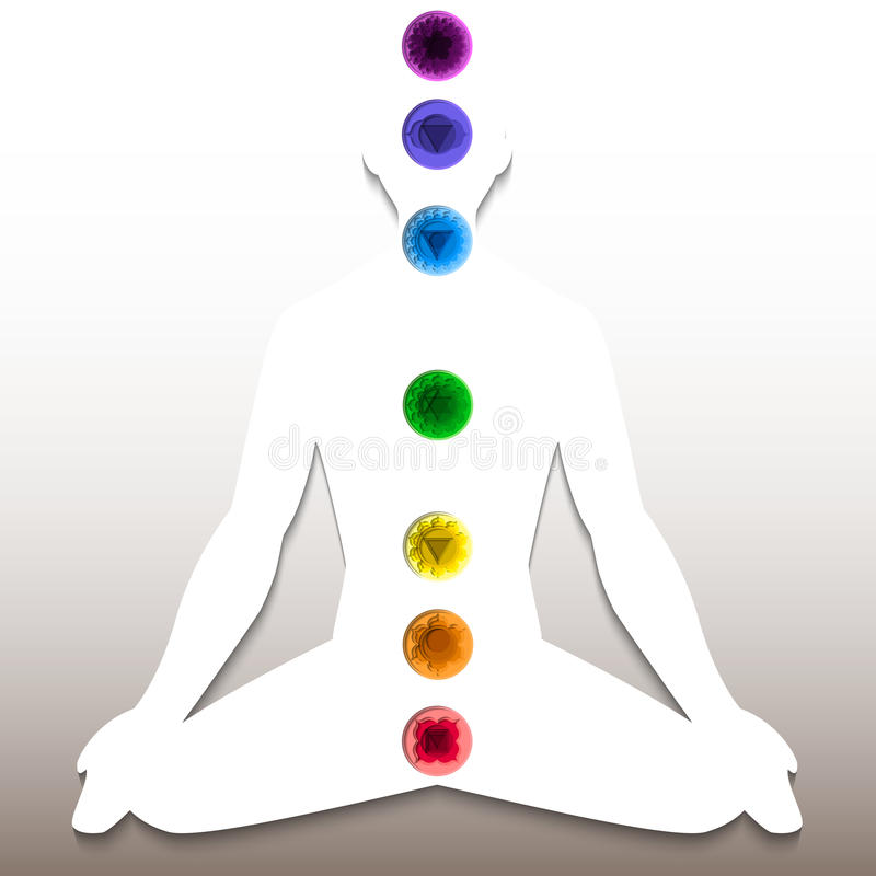 Silhouette with chakra system vector illustration