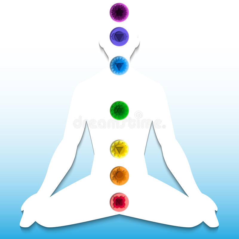 Silhouette with chakra system stock illustration