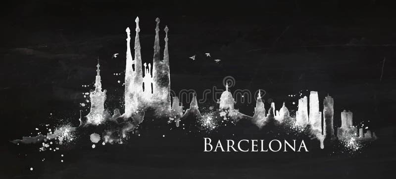 Silhouette chalk Barcelona vector illustration