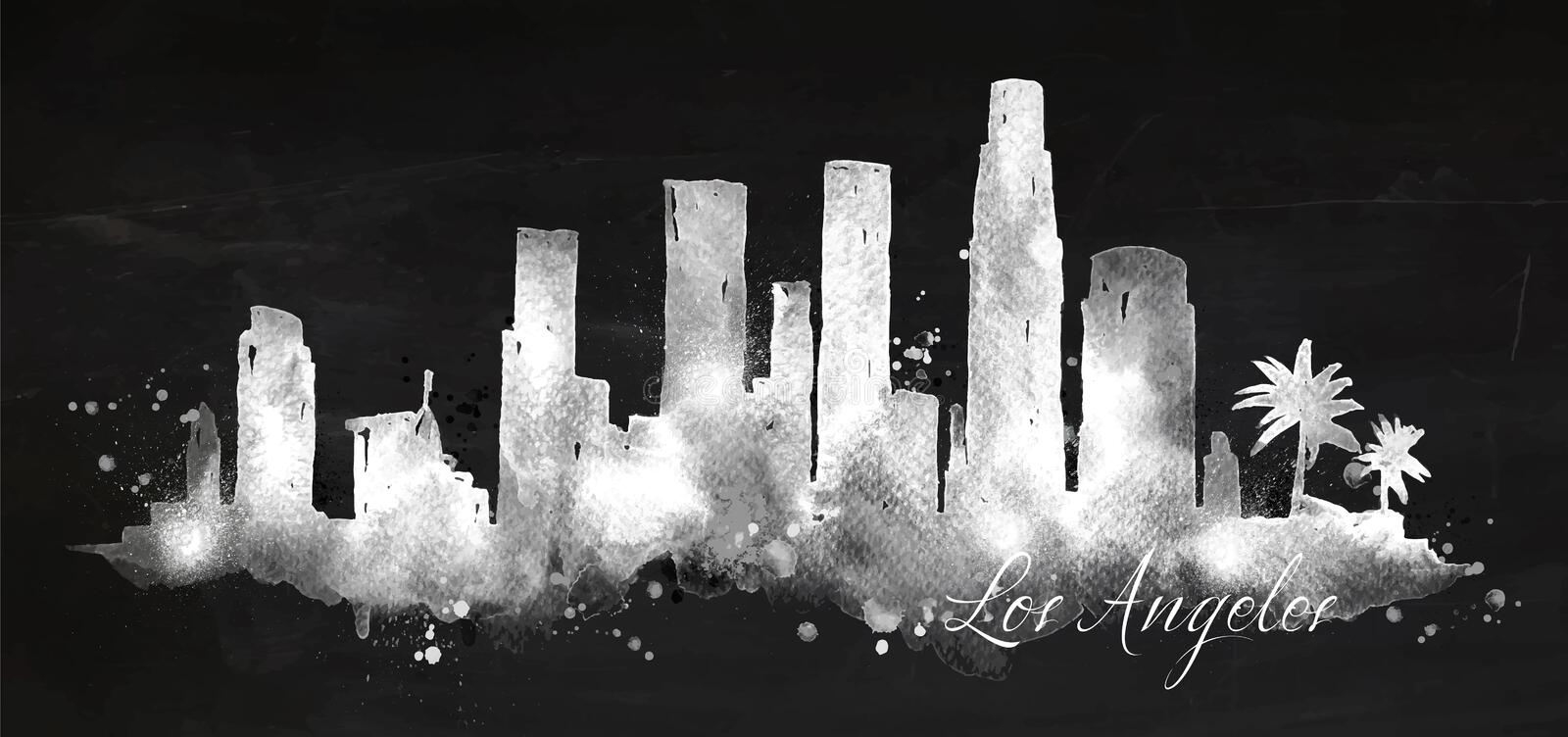 Silhouette chalk Los Angeles. Silhouette of Los Angeles city painted with splashes of chalk drops streaks landmarks drawing with chalk on blackboard vector illustration