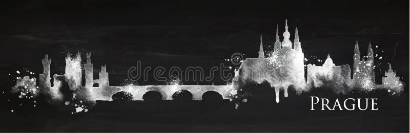 Silhouette chalk Prague royalty free illustration