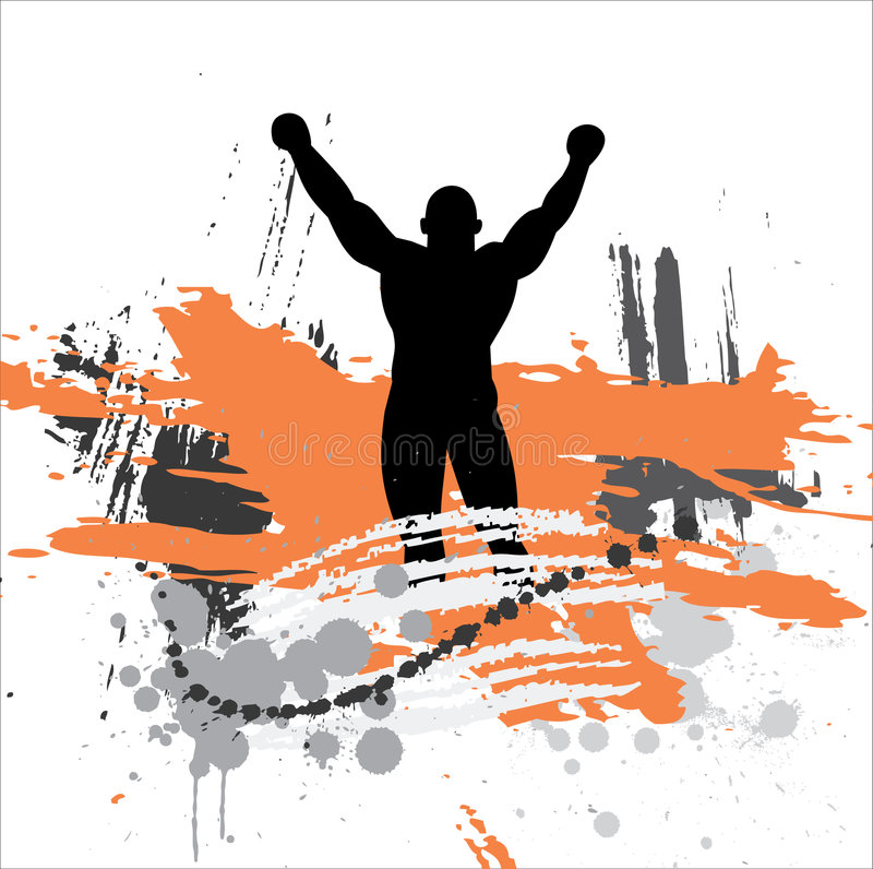 Silhouette of the champion. stock photography