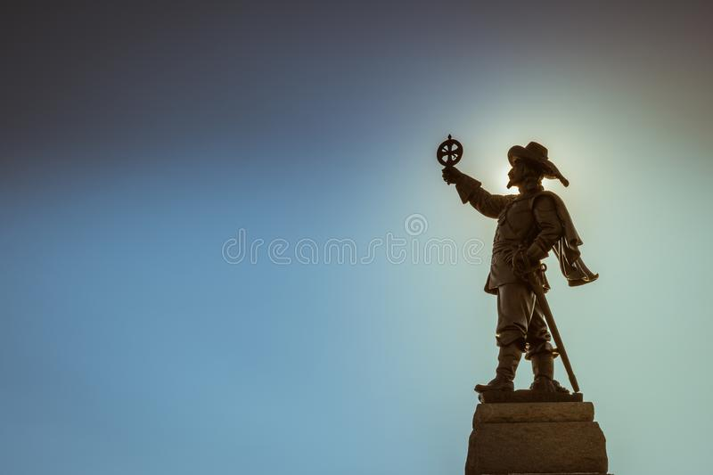 Silhouette of Champlain statue in Ottawa royalty free stock photo