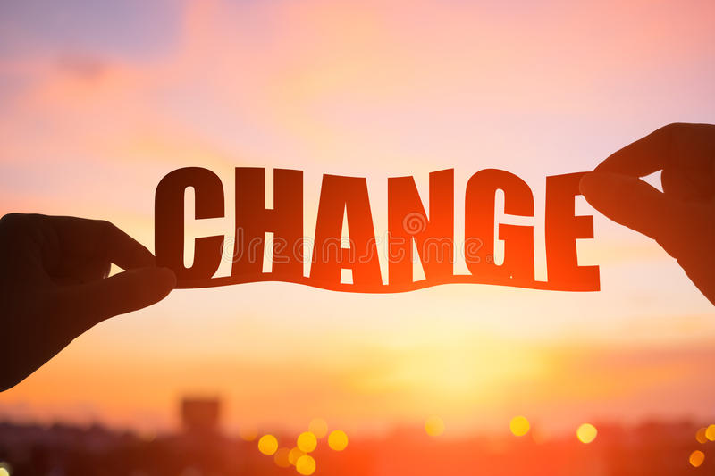 Silhouette of change word stock photography
